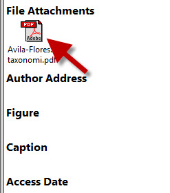 File Attachments field in an EndNote record