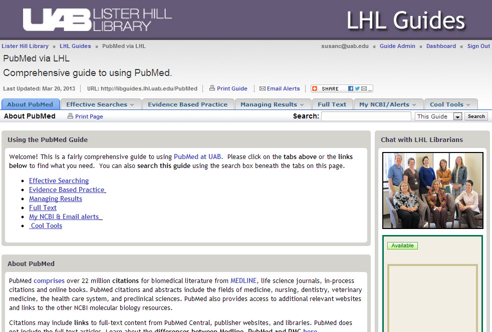 Screenshot of PubMed guide