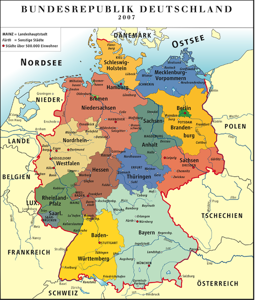 Karte der »Bundesrepublik Deutschland« 2007 / Map of »Federal Republic of Germany. From Wikimedia Commons.