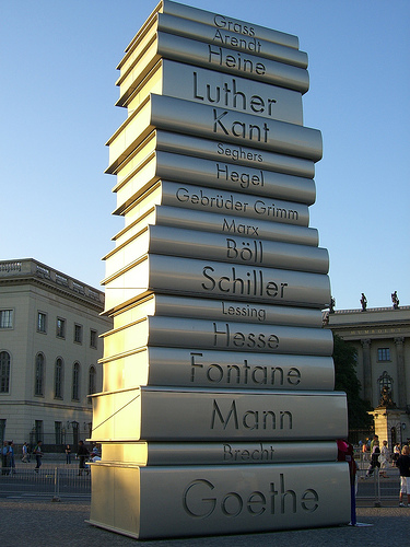 Monument in Eastern Berlin to honor German literature. Taken by Wolf Gang, Sept. 26, 2006. http://www.flickr.com/photos/wolfgangkuhnle/250892222/