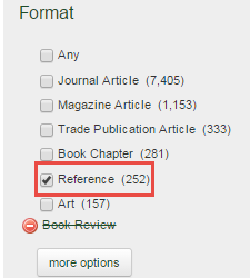 reference box checked in onesearch menu