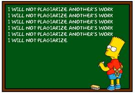 "Bart Simpson writing ""I will not plagiarize another's work"" repeatedly on a chalkboard"