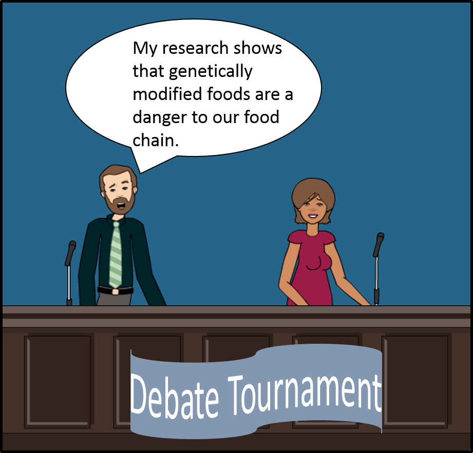 Two debators.  The man on the left says, My reseach shows that genetically modified foods are a danger to our food chain.