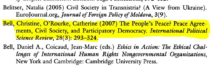 image of a citation The People's peace? by Bell, Christine O'Rourke, Catherine (2007) from International Political Science Review, 28 (3): 293-324