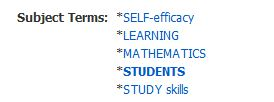 image states subject terms; self-efficancy, learning, mathematics, students, study skills