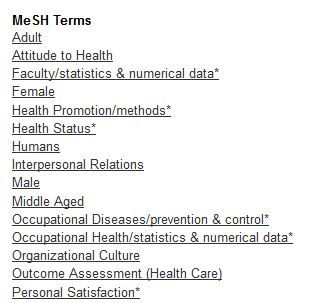 image states Mesh Terms; Adult, Attitude to Health, Faculty/statistics & numerical data, female, health promotion / methods, health status, humans, interpersonal relations, male , ...