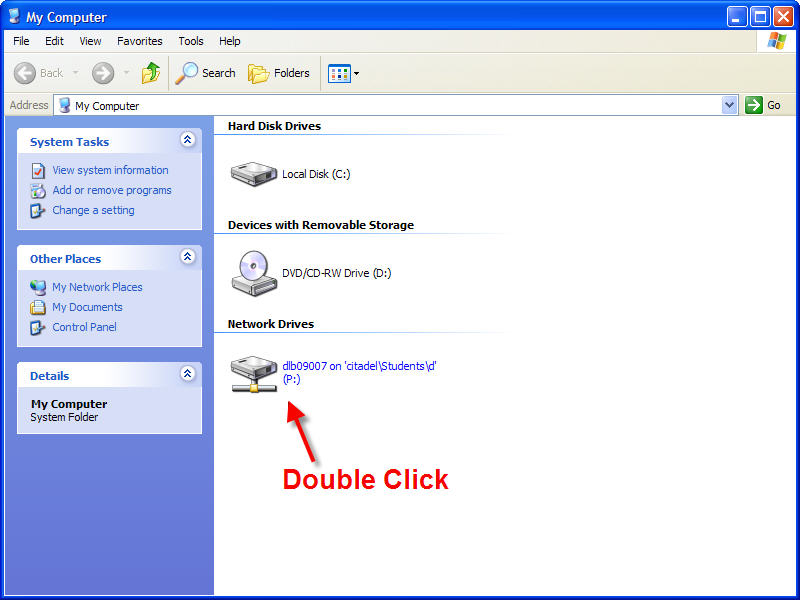 Double click on P:Drive