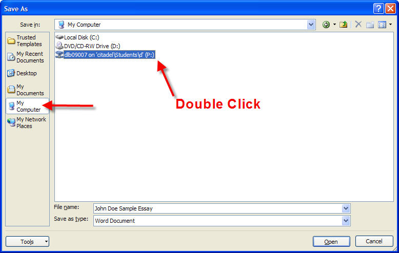 Double click on the P: Drive