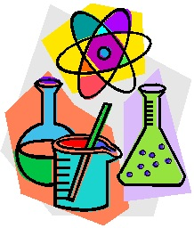 Chemistry symbols, beakers and flasks.