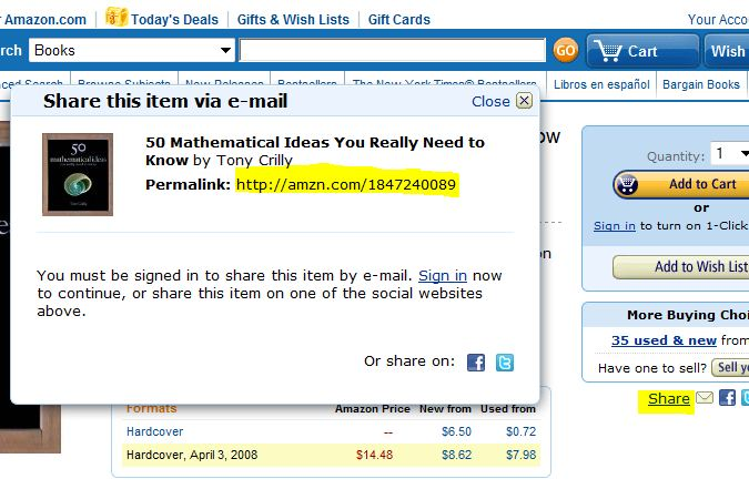 screen shot from Amazon.com showing the SHARE link and the resultant window