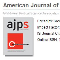 partial screen shot of the Electronic Journal American Journal of Political Science