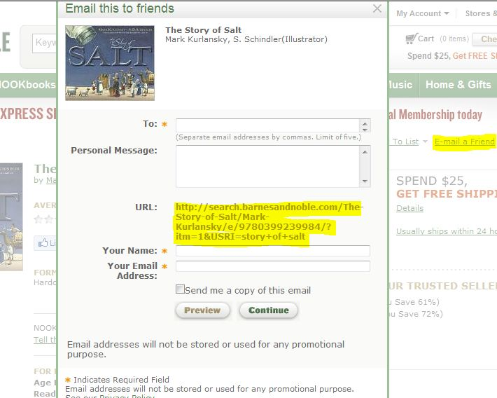 screen shot from bn.com showing the SHARE link and the resultant window