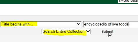 Screenshot of a library catalog search by title