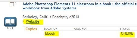 Screenshot of part of a  results list from a catalog search that shows the ebook link