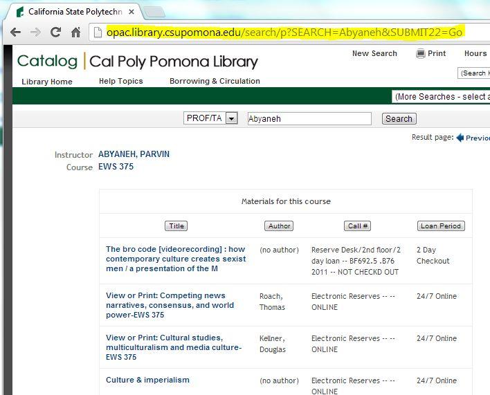 catalog screen shot for an e-reserve