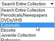 ejournals pulldown from the library catalog