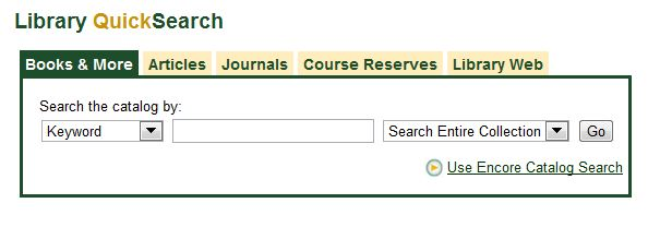 the Library catalog search is also embedded in the Library Home Page