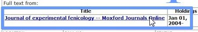 screenshot from catalog showing link to Moxford Journals Online