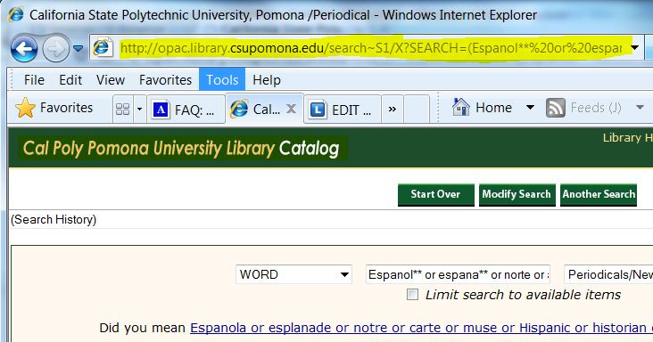 screen shot from the library catalog showing the URL at the top of the browser