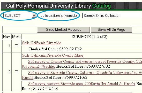 Use the Library Catalog for Find Soil Surveys
