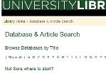 Part of a screen shot of the Databases page