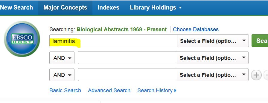 Screen shot of Ebsco Biological Abstracts search form