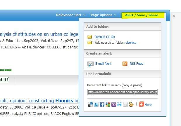 screen shot from an ebsco search
