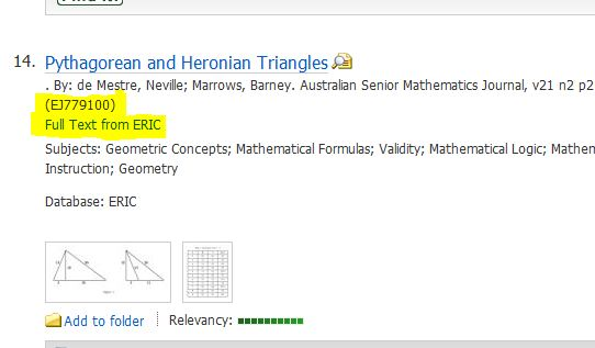 """screenshot from EBSCO ERIC showing """"Full Text from ERIC"""" link"""