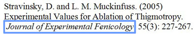 Citation from the Journal of Experimental Fenicolgy with the name of the journal circled