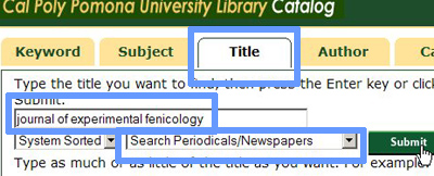 Title search for the journal of experimental fenicology