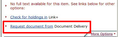 Part of the Find It! services screen, showing a link to Document Delivery