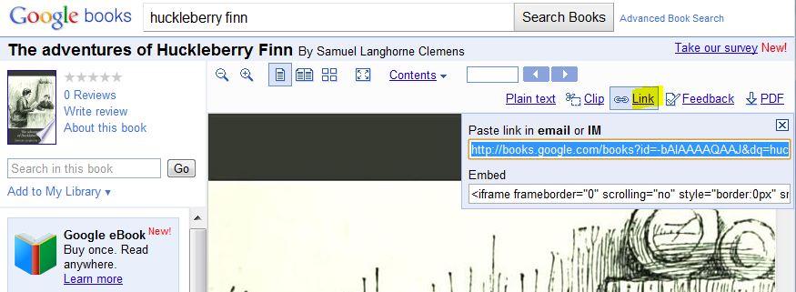 screen shot from google free E-books
