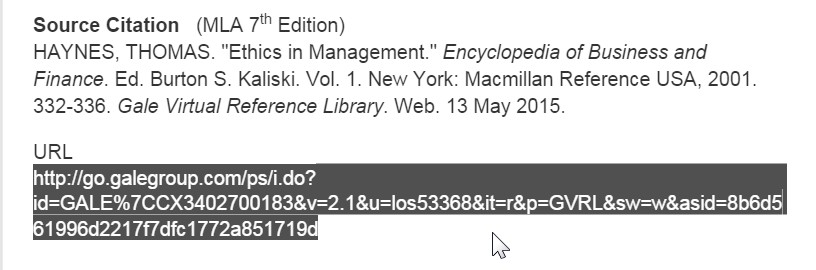 screen shot from a Gale article showing document URL