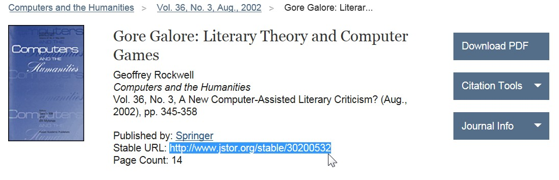 screenshot from JSTOR showing stable URL