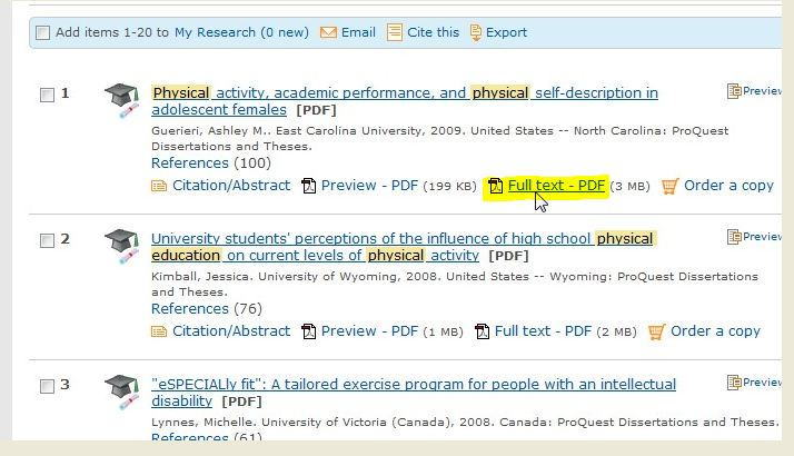 Screen shot of a results listing (the results of a search)