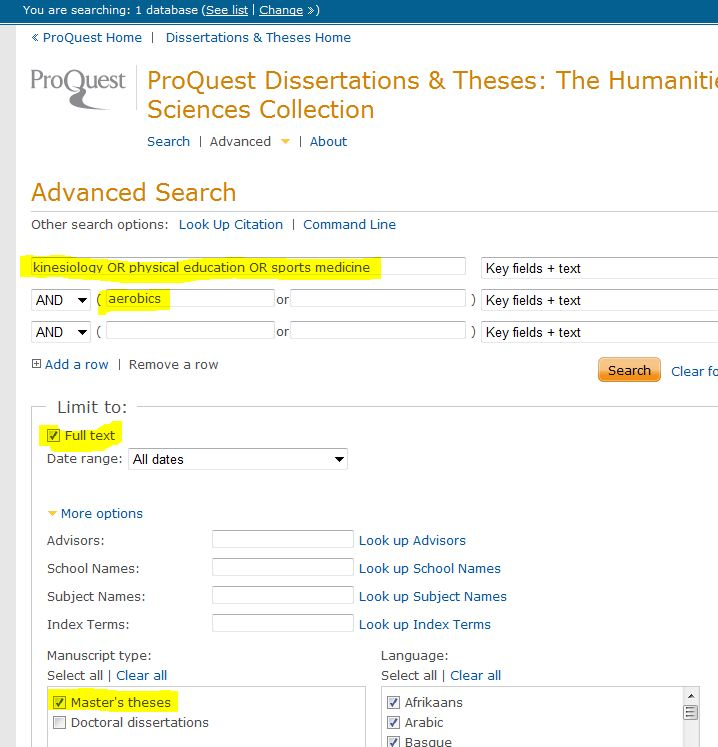 Screenshot of the search screen of Dissertations & Theses: The Humanities and Social Sciences Collection