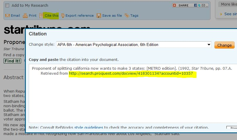 screen shot from Proquest Databases showing path Stable URL