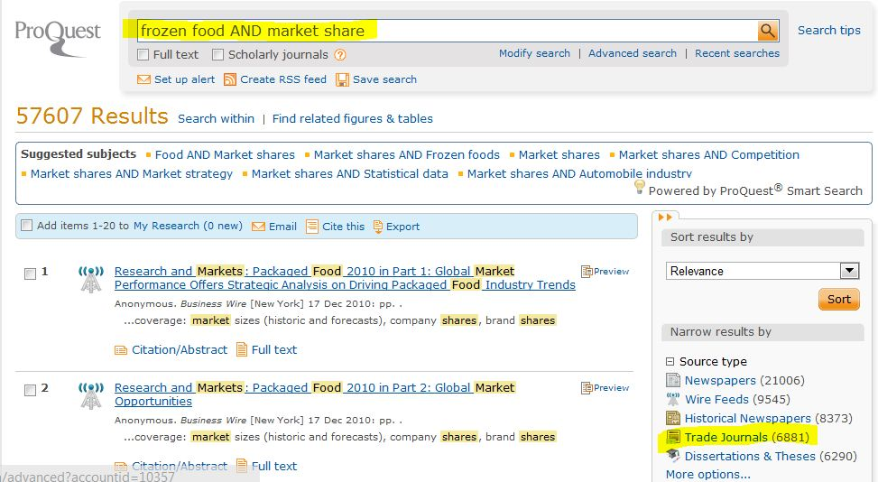 Screen shot from Proquest Databases showing a limit to Trade Journals