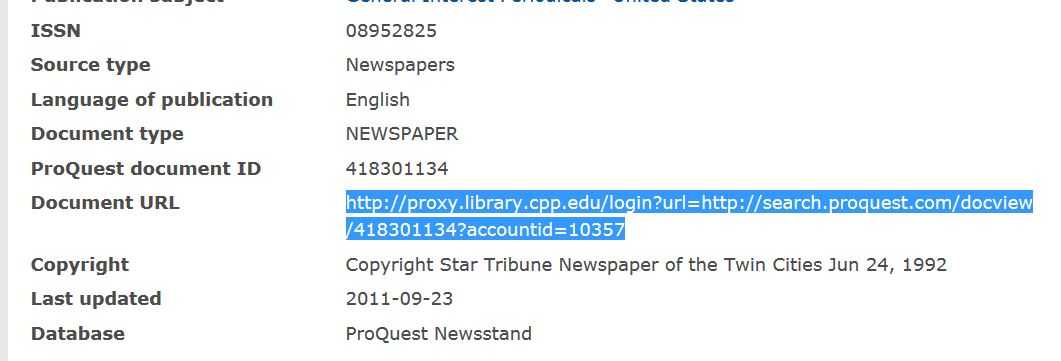 Proquest URL towards the bottom of the page