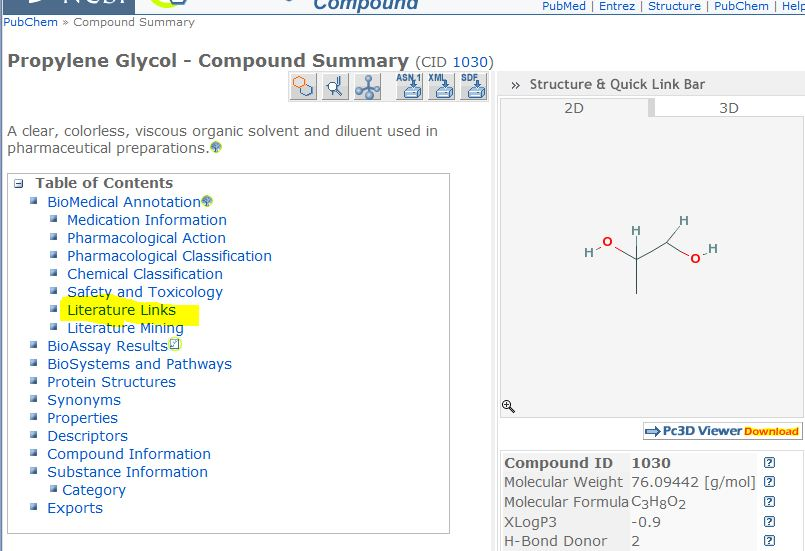 screenshot for a Pubchem compound page