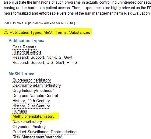 The resulting disply has a link for Publication Types, MeSH Terms, and Substances. Click on the that link and see what MeSH terms apply.  You can then click on that term or paste it into the search box.