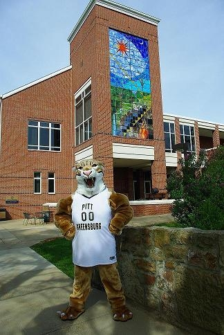 Bruiser in front of the Millstein Library