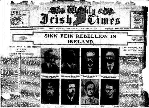 Front page of the Irish Times newspaper