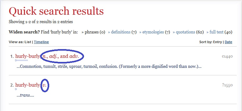 OED quick search results