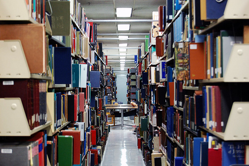 rows of bookshelves