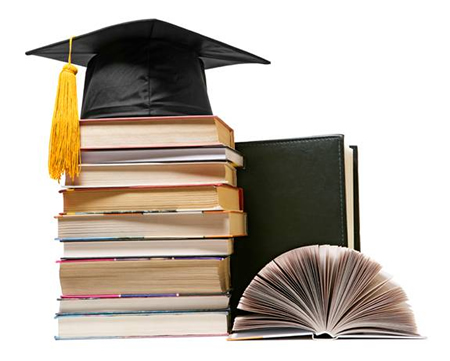 books stack with graduation cap