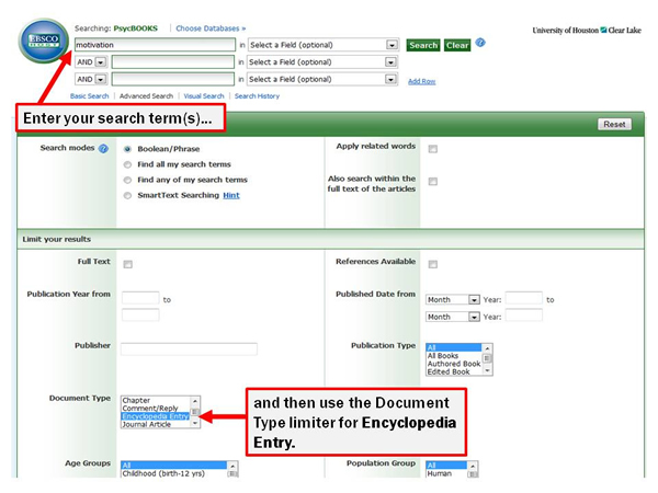 """Sample PsycBOOKS search for """"motivation,"""" limited to the document type encyclopedia entry"""