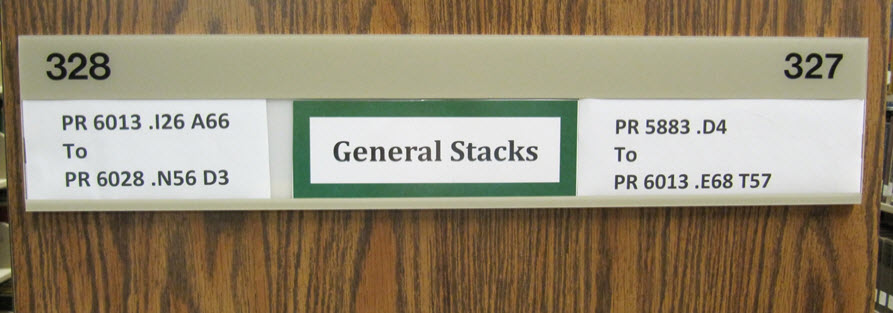 General Stacks end panel sign with call number ranges