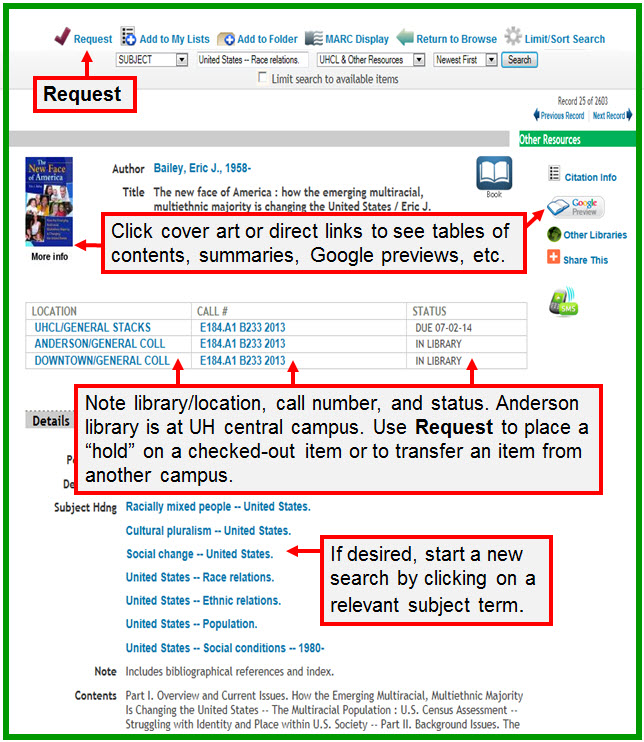 Shows Request link; more information links; location, call number, and status information; and searchable subject terms on a Library Catalog detailed record
