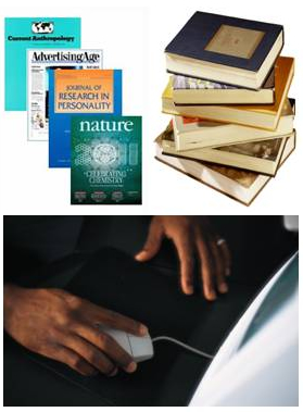 Selected journals, a stack of books, and a hand using a computer mouse